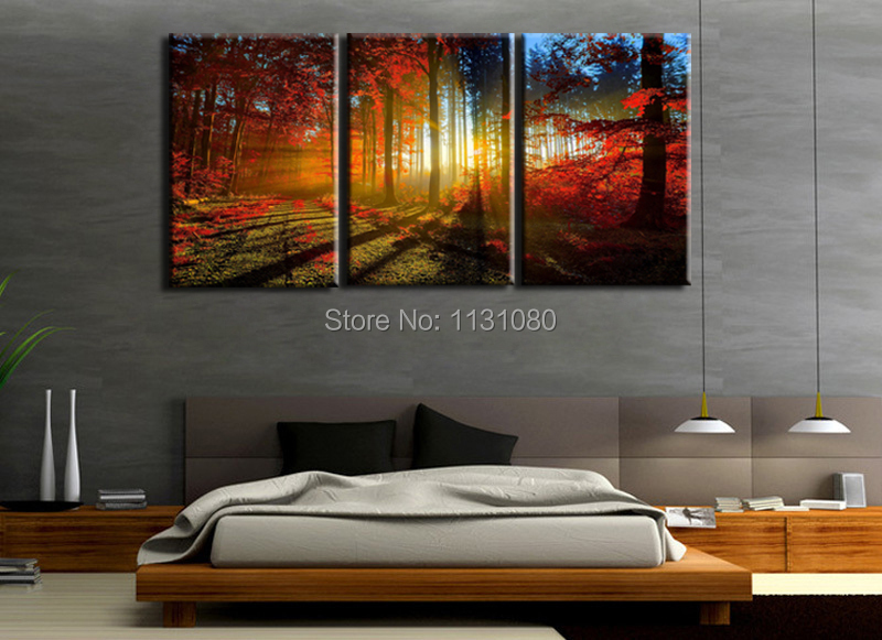 3 Pieces Ready To Hang Wall Art Canvas Prints Large Oil Painting Red Trees Sunlight Pictures For Living Room In Calligraphy From Home