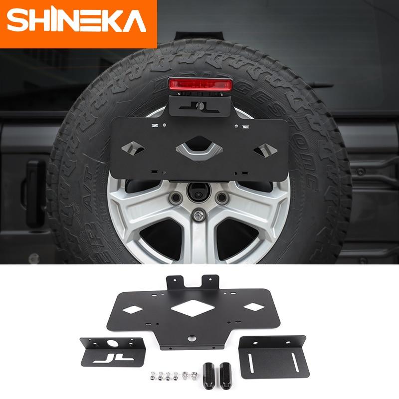 SHINEKA Registration Plate Holder Car Rear Spare Tire Metal License Plate Mount Bracket Holder for Jeep
