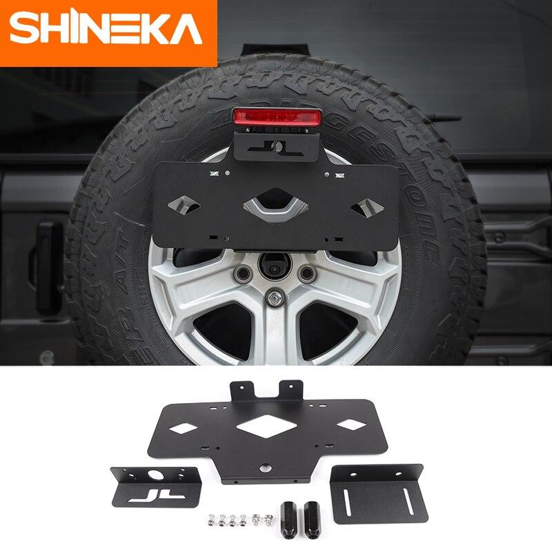SHINEKA support de plaque d'immatriculation voiture arrière pneu de rechange en métal support de plaque d'immatriculation support pour Jeep Wrangler JL 2018 +