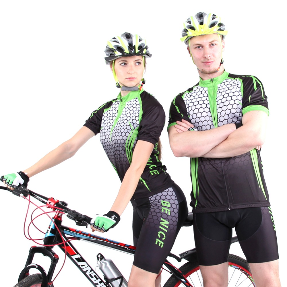 2016 Be nice brand Cool Unisex Green color Cycling Wear Short Sleeve Bicycle Bike Jersey Cycling Clothing sets 401