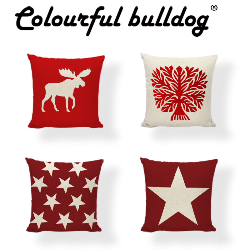 >Stylish Cushion Cover Deer Head Throw <font><b>Pillow</b></font> Case Christmas <font><b>Gift</b></font> <font><b>Farmhouse</b></font> 17*17In Red Moose Cotton Linen Home Funda De Cojines