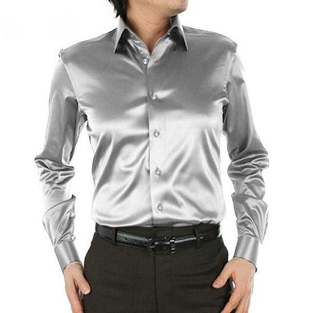 Plus talla para hombre camisas de vestir de boda alta calidad de manga larga suelta hombres de la camisa de seda de ropa chemise homme 21 colores CY57b