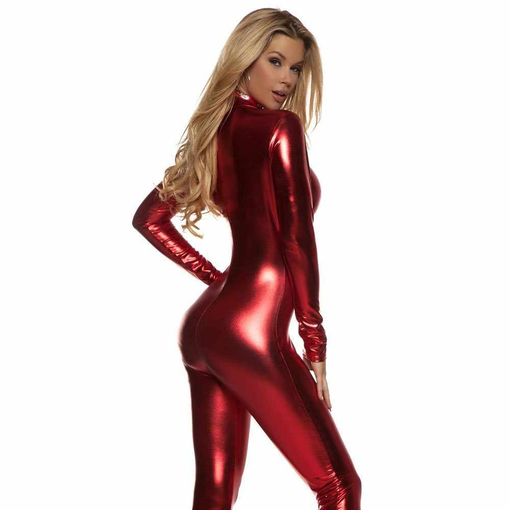 44918b022 ... Plus Size Black Sexy Shiny Cat Suit Women Silver Metallic Unitard Tight Suit  Lycra Spandex Bodysuit ...