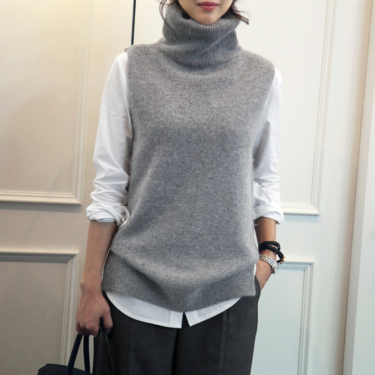 Knitted vest, high necked collar, sweater, vest, loose vest, sleeveless sweater.
