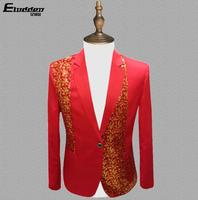 Red clothes men suits designs masculino homme terno stage costumes for singers jacket men sequins blazer dance star style dress