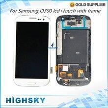 Бесплатная доставка ems dhl испытано ремонт дисплей для samsung galaxy s3 i9300 ЖК-ДИСПЛЕЙ С Сенсорным Экраном Дигитайзер + Сборки Рамы 10 шт/много
