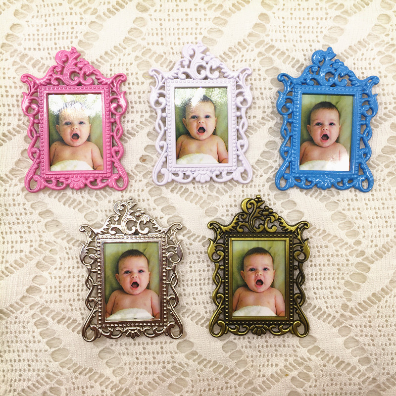 20pcs/lot Wedding Favors Baby Christening Gifts Baby Shower Favors Cute Metal Fridge Magnet Photo Frame-in Party Favors from Home & Garden    1