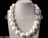 Prett Lovely Women's Wedding Wholesale >Noble Natural 20mm White Shell Pearl Zircon leopard Head necklace