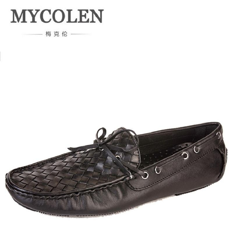 MYCOLEN Genuine Leather Men Casual Shoes Black Cow Leather Shoes Slip On Men Lazy Loafers Zapatillas Hombre Casual Flats new 2017 men s genuine leather casual shoes korean fashion style breathable male shoes men spring autumn slip on low top loafers