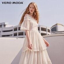 Vero Moda Brand 2018 NEW spring sweet shoulder-strapes lace half sleeve mid-length female dresses 31816Z503