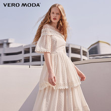 Vero Moda Brand 2018 NEW spring sweet shoulder-strapes lace half sleeve mid-length female dresses| 31816Z503(China)