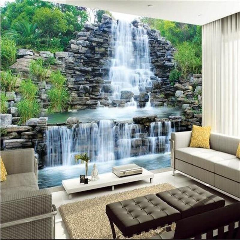 Купить с кэшбэком beibehang custom silk photo wallpaper HD Rockery stone water waterfall Arts living room backdrop 3d large wall mural wallpaper