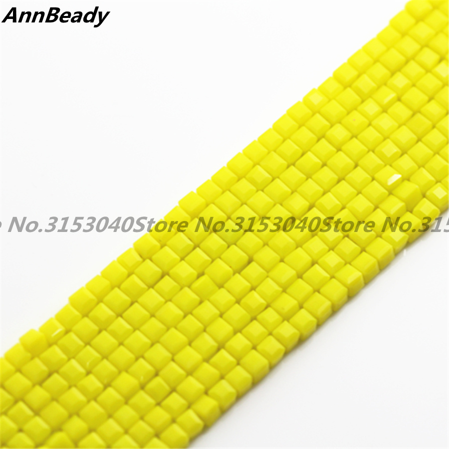 1000pcs Solid Yellow 3mm Square Cube Spacer Austria Crystal Glass beads Loose Beads For DIY Jewelry Making Crafts spacer Beads