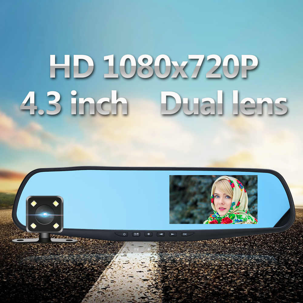 Dash Cam 4,3 pulgadas 5,0 M coche DVR cámara HD 1080x720 P doble lente grabadora de vídeo Monitor de aparcamiento espejo retrovisor cámara de Auto H41/42
