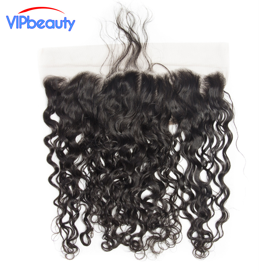 Vipbeauty Brazilian Water Wave Remy Hair Ear To Ear 13X4 Lace Frontal Closure Natural Color Can Be Dyed 12-20 Inch