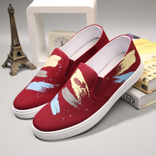 Nice New Fashion Canvas Shoes Graffiti Men Shoes Canvas Espadrilles Spring Summer Men Loafers Shoes Breathable Flat Shoes
