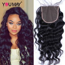 Bleached knots middle part side loose peruvian lace wave closure human
