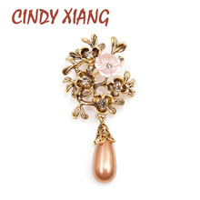CINDY XIANG New Arrival Shell Flower Water-drop Brooches for Women Antique Gold Color Rhinestone Vintage Pins High Quality 2019
