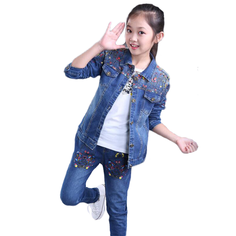 ФОТО Printing Floral Clothing For Girls Spring Autumn Children Denim Jacket Suit  Ensemble Fille Single Breasted Tracksuit  For Girl