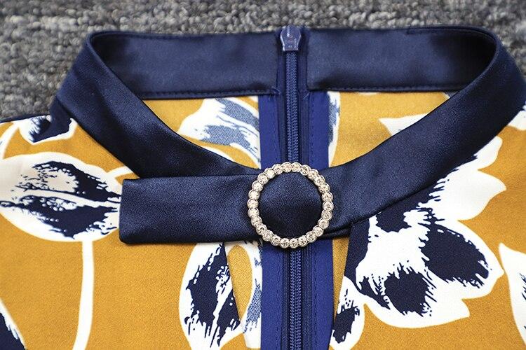 Empire Ligne Une Manches Piste Robe Automne Gingerish Conception Ensemble Floral Pleine Femmes Midi Imprimé 2018 Haute Qualité xnwHtX