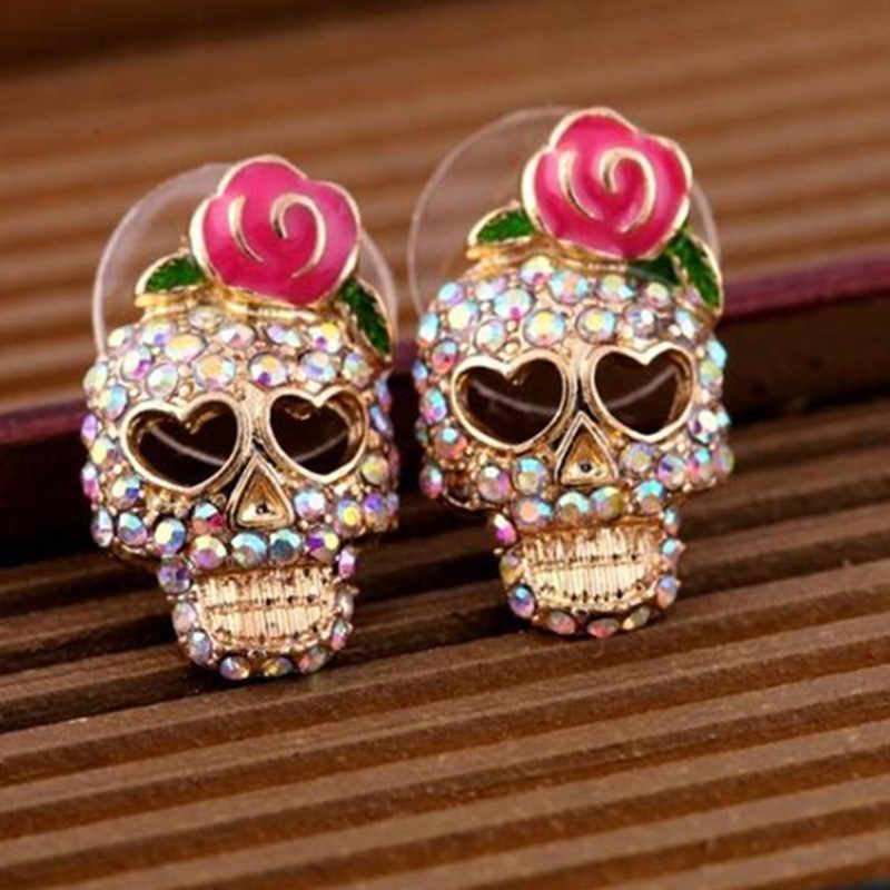 Châu âu và Mỹ Thời Trang Đồ Trang Sức Thương Mại Hoa Hồng Flower Skull Head Màu Pha Lê Earrings-Hoa Cẩm Chướng cho Đối Với Phụ Nữ jewelry 2017