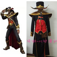 2016 Hot Game LOL Twisted Fate the Card Master Cosplay Costume Halloween Costumes Handmade Custom Made in Any Size