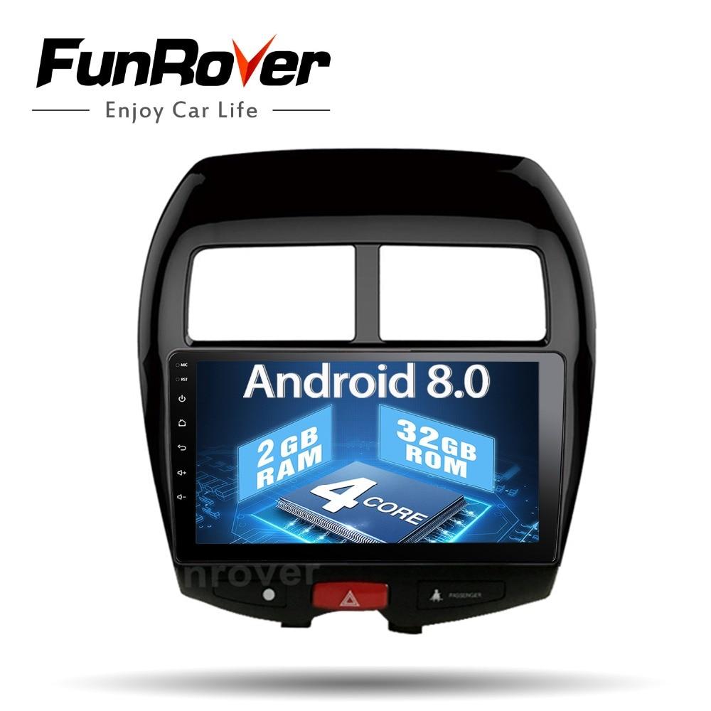 Funrover 2 din voiture radio magnétophone Android 8.0 pour Mitsubishi ASX 2010-17 Voiture Android Multimédia Stéréo Headunit USB AUCUN DVD
