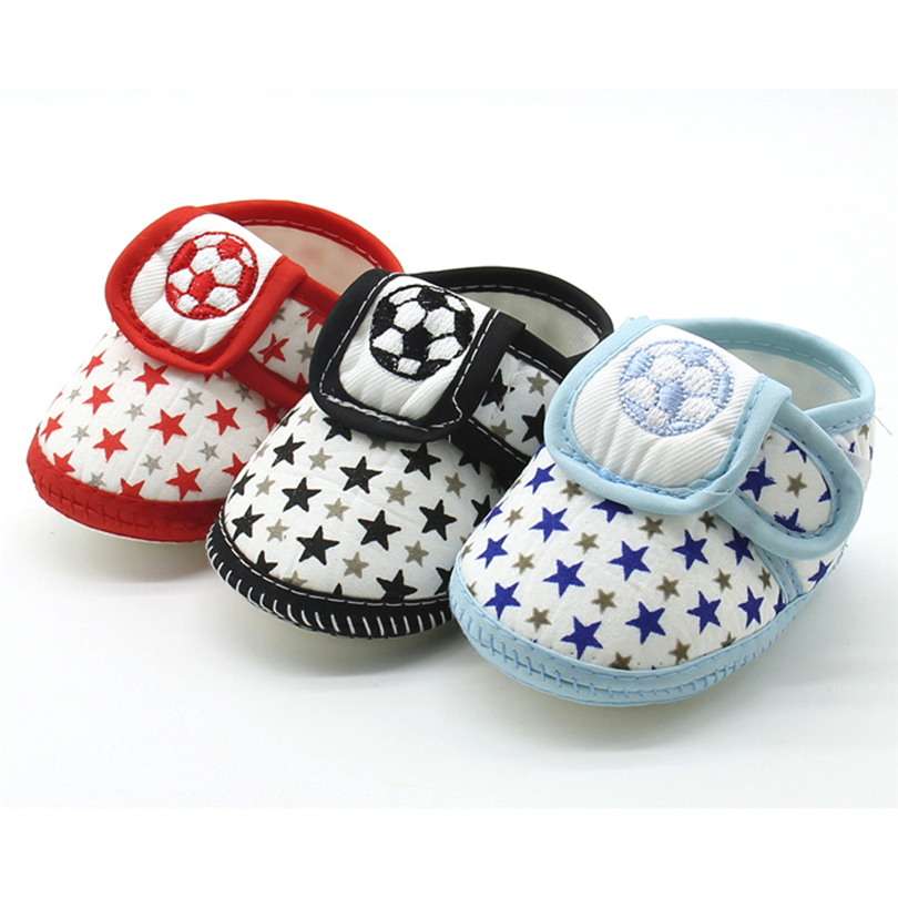Infant Baby Girls Boys Shoes Star Printed Football Embroidery Soft Sole Prewalker Warm Casual Flats Shoes For Newborns 3-12M A20