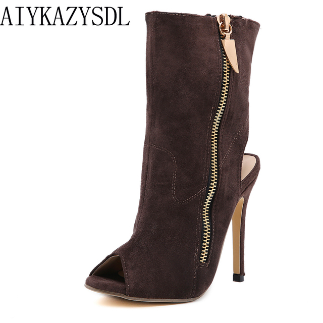 AIYKAZYSDL 2018 Fashion Women Ankle Boots Turn Over Peep Toe Bootie Side Zip  Slingback High Heel Stiletto Shoes Pump Woman Party 7eade1069bc9