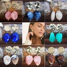Ybollar Fashion Resin Metal Drop Earrings Trendy Women Gold Round Dangle Statement Wedding Jewelry