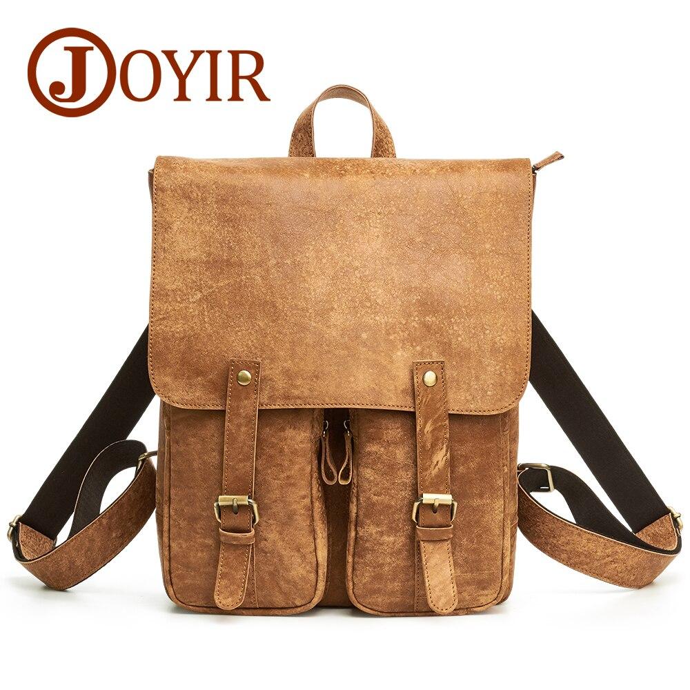 JOYIR Vintage Backpack Leather Men's Backpack Genuine Leather Schoolbags Men Travel Bags for Teenagers Backpacks Mochila Male 55 цена