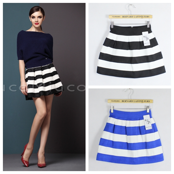 Women's Skirt Saias Femininas Black White Horizontal Stripe High ...