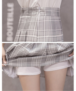 Image 5 - Thời Trang Mùa Hè Hàn Quốc Cao Cấp Váy Nữ Nữ Sinh Xếp Ly Chân Váy Có Quần Đỏ Gợi Cảm Dây Kéo Mini Váy Kẻ Sọc Faldas