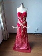 Vestidos De Baile 2015 Tatsächliche bilder Weinrot Luxus Pleuche Gold Perlen Mantel Abschlussball-kleid Elegantes Abendkleid