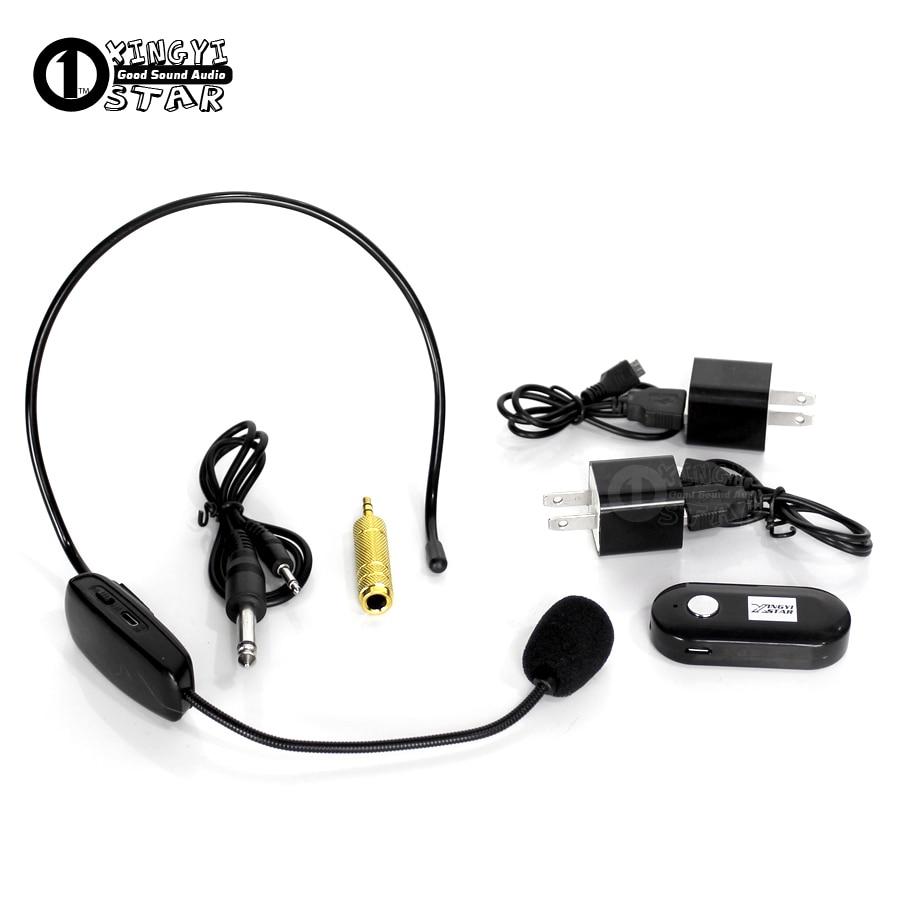 Mini Headworn Wireless Microphone Headset Mic With 2 in 1 6.35mm 3.5mm Jack Receiver For PC Megaphone Meeting Speech Teacher KTV