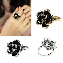 Silver and Gold Color Rings Hot Fashion Korea Women Black Rose Opening Ring Rhinestone Ring Drop Shipping May2918(China)