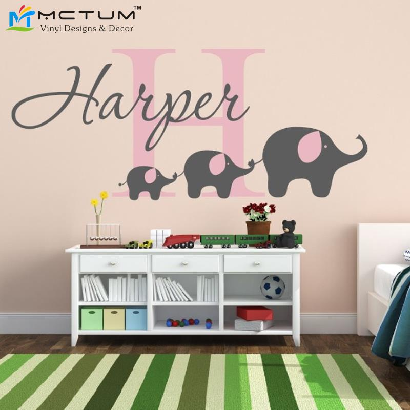 Elephant wall sticker custom name initial monogram nursery for Stickers muraux