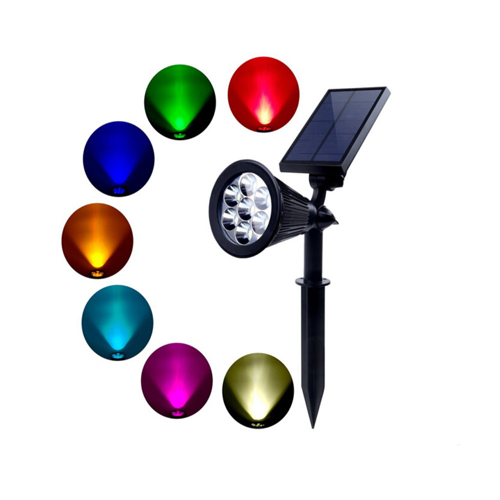 New arrival 7LED RGB Led Solar light led spotlight Outdoor waterproof Solar Power Spotlight