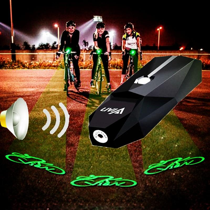 BASECAMP Rechargeable Bike Light Green Laser Flashlight Bicycle Front Light Bell MTB Bike Logo Safety Warning Lamp Horn Lights
