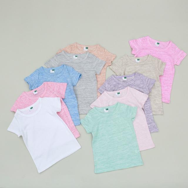2016 crianças de verão t camisa Do Bebê Básico Camisa 100% Algodão Meninos E Meninas curto-luva em torno do pescoço T-shirt 2-7years doce cor