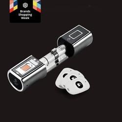 My cylinder blokujący Keyless inteligentny biometryczny App zamek do drzwi z czytnikiem linii papilarnych bezpieczeństwo w domu elektroniczny cyfrowy zamek do drzwi dla home office w Zamki elektryczne od Bezpieczeństwo i ochrona na