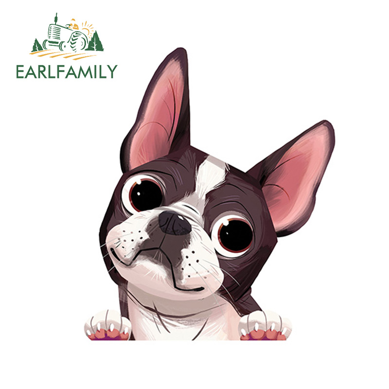 EARLFAMILY 13cm x 11.1cm Boston Terrier Car Window Sticker Decal Cartoon Animal Car Stickers Waterproof Car Styling Accessories