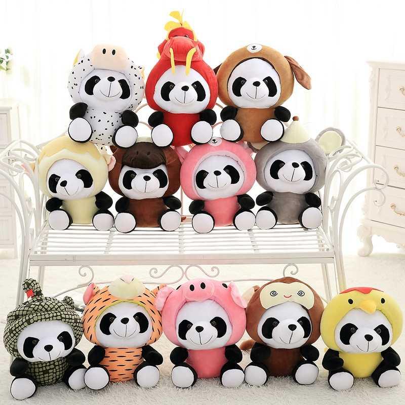 Panda brinquedos de pelúcia kawaii animais 12 zodíaco chinês panda boneca para crianças bebê bonito pelúcia brinquedos para crianças presentes de aniversário
