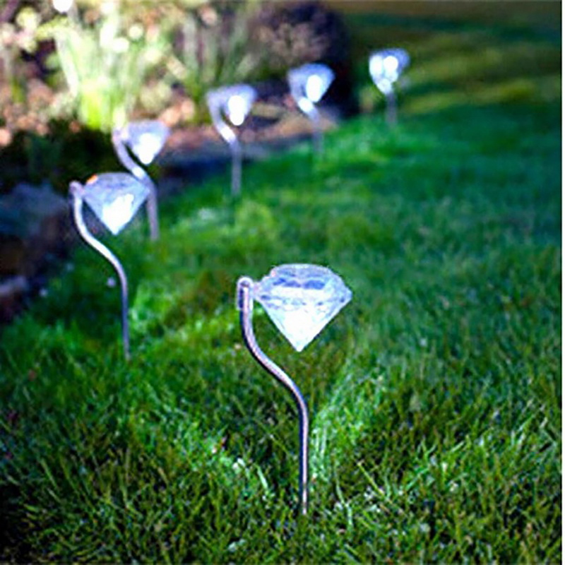 IP45 Solar Lights Outdoor Diamond Shape LED Powered Decoration Garden Path Stake Lanterns Lamps LED Light Solar Light Pathway