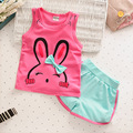 2016 New Kid Girl Vest Set Rabbit T-shirts+ Cotton Shorts 2pcs Tracksuit for Girls Baby Sets Summer Children Clothes Pants Suit