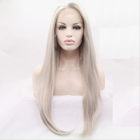 JOY BEAUTY Hair Women Silky Straight Wigs Synthetic Lace Front Wig 26inch Pure Grey Long Straight