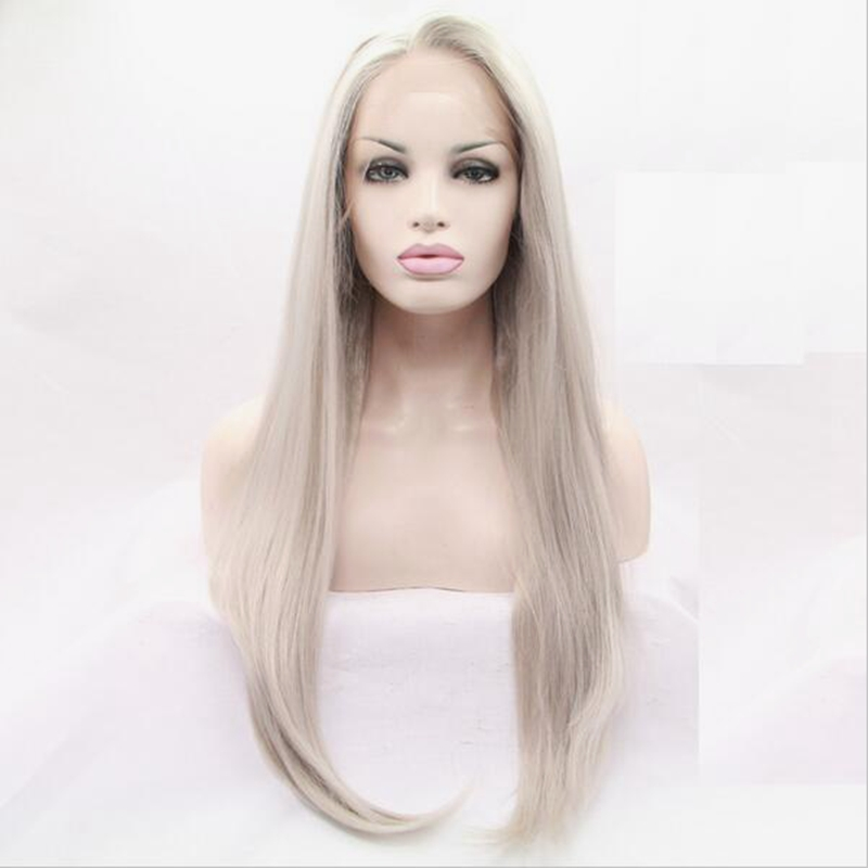 JOY&BEAUTY Long Straight wig Synthetic Hair lace Front Wig 26inch Grey Pink Green Brown Red Golden High Temperatur Free Shipping