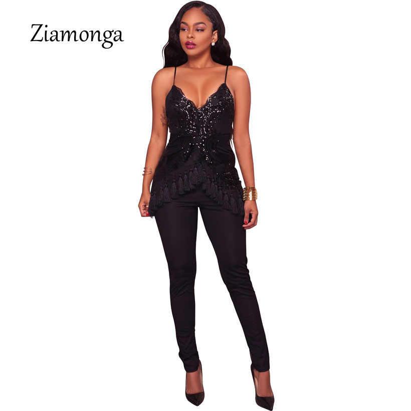 Zionga 2018 новые женские сексуальные черные, зеленые, синие, красные тонкие лямки с v-образным вырезом, с блестками, комбинезон с кисточками, модные комбинезоны для подиума