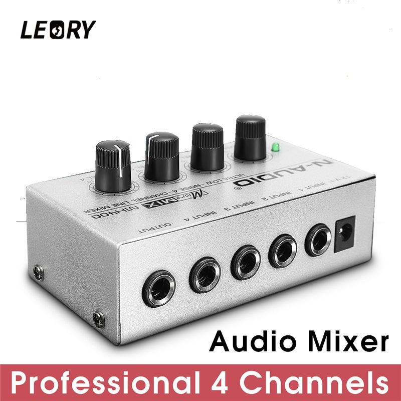 LEORY Professional 4 Channel Audio DJ Mixer Mini Sound Mixing Console Metal Silver Low Noise DJ Mezclador For Audio PC Home KTV