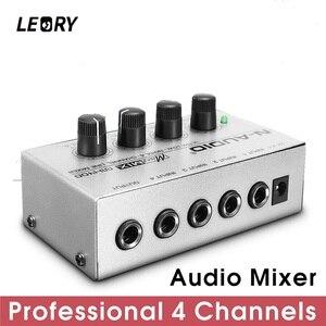 Image 1 - LEORY Professional 4 Channel Audio DJ Mixer Mini Sound Mixing Console Metal Silver Low Noise DJ Mezclador For Audio PC Home KTV
